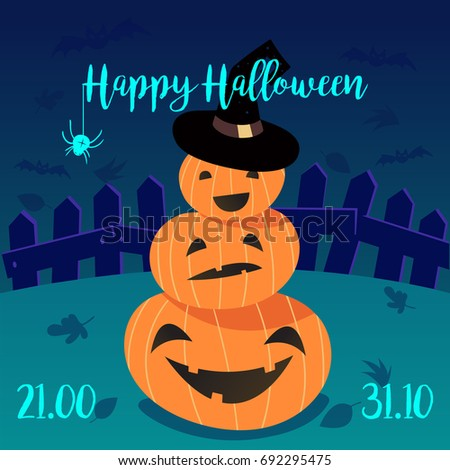 Happy Halloween Template Flyer Postcard Lettering Stock Vector