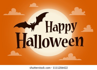 Happy Halloween Text Banner with a bat on background of the moon. Vector lettering