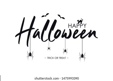 Happy Halloween text banner with bat, spider and cat. Vector illustration.