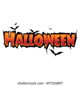 Happy Halloween Text Banner with bat silhouette