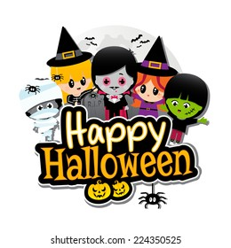 Happy Halloween text banner with Children dressed in Halloween costumes on a plain White background. Characters include vampire, dracula, witches, frankenstein, Mummies, spiders, pumpkins and bats