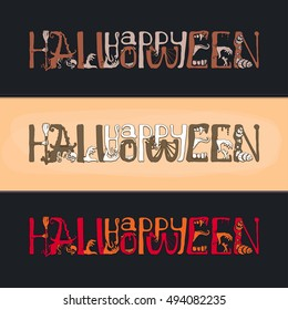 Happy Halloween Text Banner with hand, witch, zombies, snake, cap, broom, spider, Vector illustration