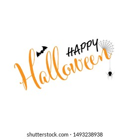 Happy Halloween text banner, Holiday calligraphy poster, greeting card, party invitation, Vector illustration.