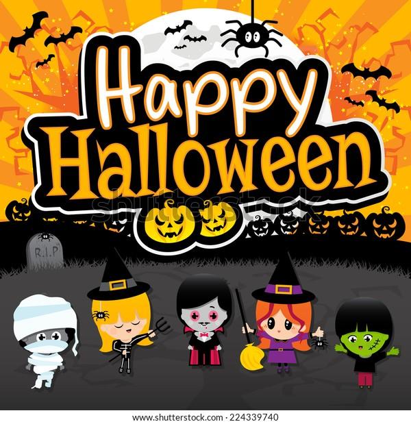 Orange Vampire Happy Halloween Banner