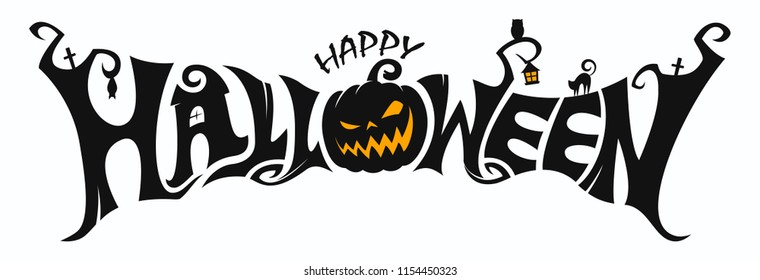 Happy Halloween Text Banner Vector Stock Vector Royalty Free 1154450323