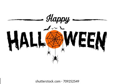 Happy Halloween Text Banner, Vector