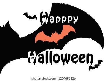 Happy Halloween Text bat Background,Banner,Vector