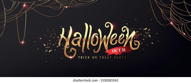 Fröhliche Halloween-Text goldene Textur Banner Party-Einladung Hintergrund.Vektorgrafik .