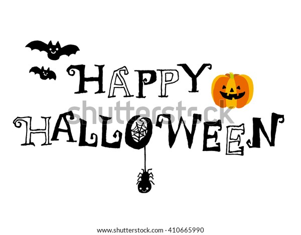Happy Halloween text isolated on White background. illustration