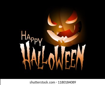 Happy Halloween text message on black background with pumpkin dark scary face.  Vector illustration