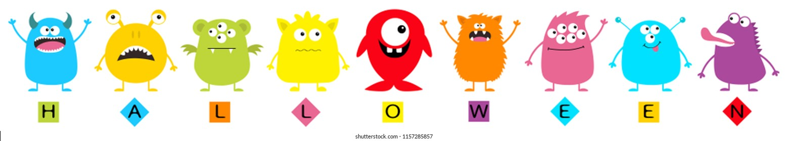 Happy Halloween text. Monster big set. Cute cartoon colorful scary character line. Eyes, tongue, hands up. Boo spooky. Funny baby collection. White background Isolated Flat design Vector illustration
