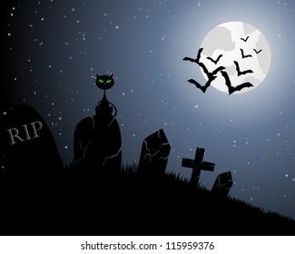 Happy halloween theme greeting card. Vector illustration.