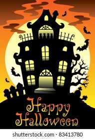 Happy Halloween theme with Moon 2 - vector illustration.