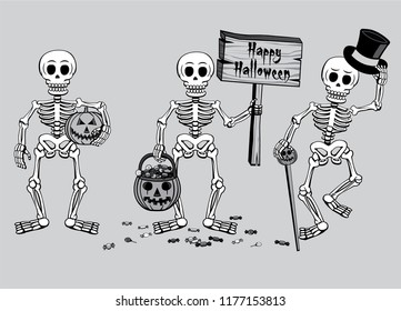 Happy Halloween Three Skeletons