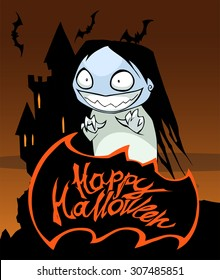 Happy Halloween title with a ghost girl