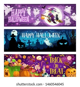 Happy Halloween, trick or treat, autumn holiday. Vector witch and broom, cat and ghosts, moon and bat, cemetery and gravestones. Jack lantern or pumpkin, candies and lollipops, cookies and cupcakes