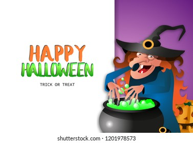 Happy Halloween Trick or treat banner with toothless witch in cap preparing potion in caldron on purple and white background. Realistic lettering can be used for invitations, signs, announcements