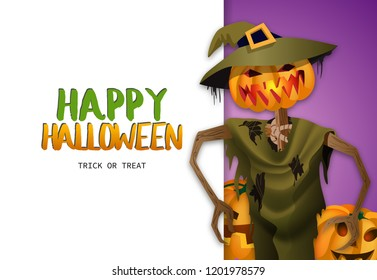 Happy Halloween Trick or treat banner design with scarecrow in witchs hat on purple and white background. Realistic lettering can be used for invitations, signs, announcements