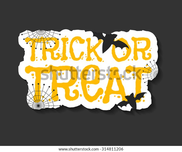 Happy Halloween trick and treat flyer template - orange and white colors with text, bats, web on dark background. Stylish brochure design for celebration halloween. Vector illustration
