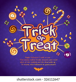 Happy Halloween Trick or Treat Greeting Card With Sweets and Candy Corn on Violet Background.