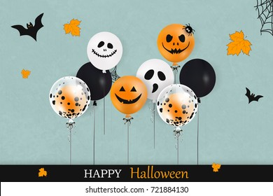 Happy Halloween. Trick or treat. Holiday concept with colorful balloons, falling leaves,  spider web, flying bats for banner, poster, greeting card, party invitation. vector cartoon illustration.