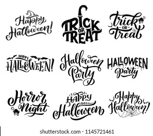 Happy Halloween trick or treat lettering for october holiday greeting cards design. Horror night party invitations with hand drawn calligraphy, decorated by bat, spider, black cat and witch hat
