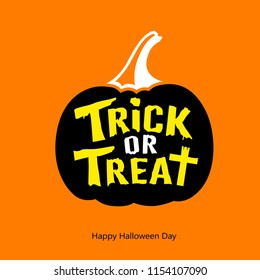 Happy halloween Trick or treat message black pumpkin on orange background, vector illustration