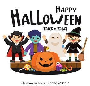 Happy Halloween and Trick or Treat Party. Children in colorful costumes and pumpkins with candy. Template for advertising brochure.
