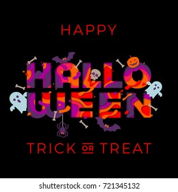 Happy Halloween trick or treat party banner or invitation poster design template. Vector orange Halloween pumpkin monster, spooky ghosts and bat skull for holiday celebration greeting card text