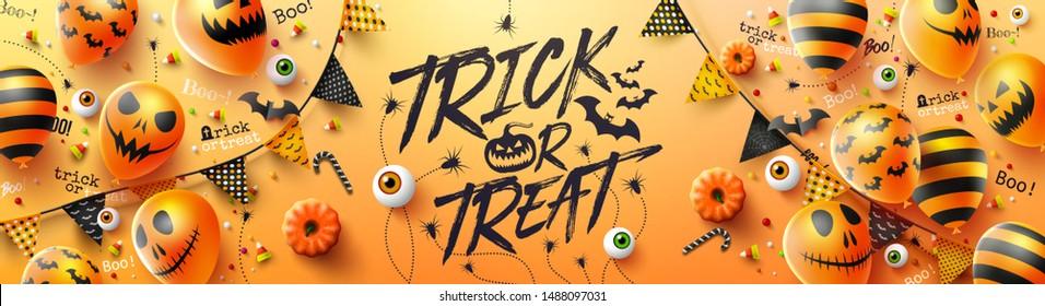 Happy Halloween Trick oder Ghost-Poster mit Halloween-Ghost-Ballons.Scary Air Ballons und Halloween Elements.Website spooky, Background oder Banner Halloween-Vorlage.Vektorgrafik EPS10