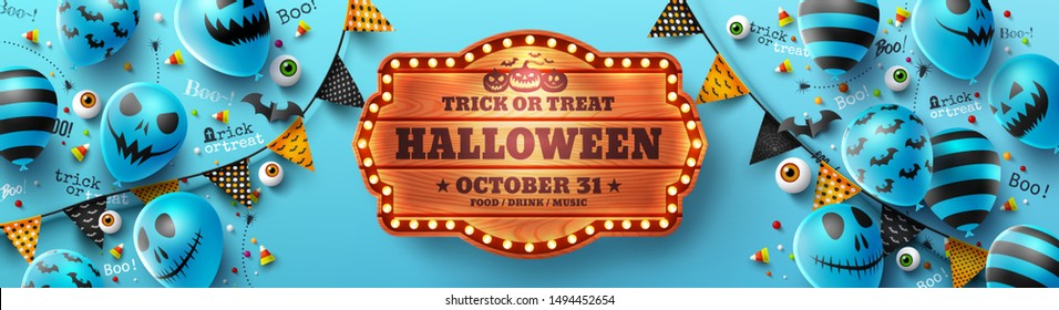 Happy Halloween trick or treat poster with Halloween Ghost Balloons.Scary air balloons and Halloween Elements.Website spooky,Background or banner Halloween template.Vector illustration EPS10