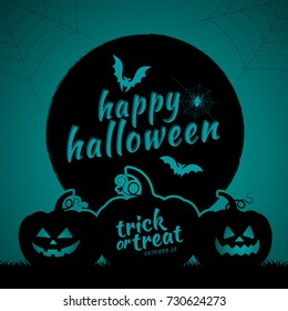happy halloween trick or treat pumpkins, bats and spider web full moon on dark night background decoration for poster, web, banner, sticker and card vector illustration