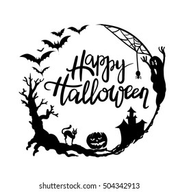 Happy Halloween  typographic design with hand drawing frame (wreath). Calligraphy.