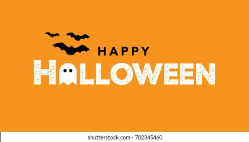 Happy Halloween Typography with Bats and Ghost. Vector Illustration.