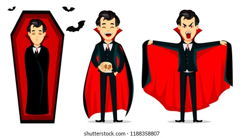 Happy Halloween. Vampire cartoon character wearing black and red cape. Set of three poses, sleeping in coffin, holding scull and making scary gesture. Vector illustration