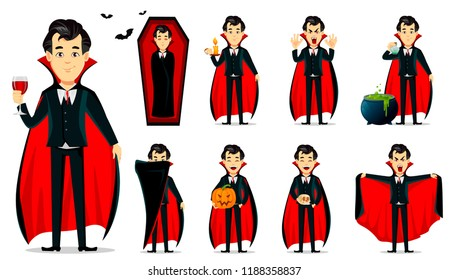 Happy Halloween. Vampire cartoon character wearing black and red cape, set of nine poses. Vector illustration