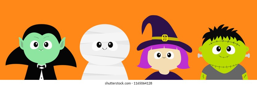Happy Halloween. Vampire count Dracula, Mummy, whitch hat, zombie round face head body icon set. Cute cartoon funny spooky baby character. Greeting card. Flat design Orange background. Vector