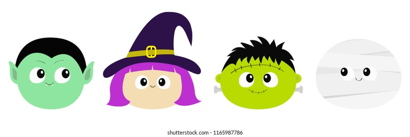 Happy Halloween. Vampire count Dracula, Mummy, whitch hat, zombie round face head icon set. Cute cartoon funny spooky baby character. Greeting card. Flat design White background. Vector illustration