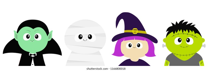 Happy Halloween. Vampire count Dracula, Mummy, whitch hat, zombie round face head body icon set. Cute cartoon funny spooky baby character. Greeting card. Flat design White background. Vector