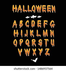 Happy Halloween Vector Alphabet Lettering Handwritten Calligraphy with web spiderman with texture for poster , banner , tshirt , party invitation