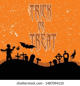 Happy Halloween Vector Background Trick or Treat Handwritten Calligraphy with web spiderman with texture for poster , banner , tshirt , party invitation