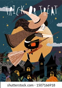 Happy Halloween! Vector cute illustration of a witch on a broomstick flying on a moonlit night over a gloomy city. Drawing for card, background or poster.