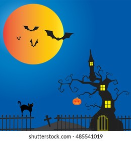 happy Halloween  vector design dark castle on the Moon light background