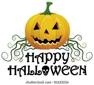 Happy Halloween vector element with skull