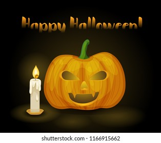 Happy halloween. Vector greeting card with pumpkin and candle on dark background