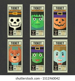Happy halloween vector greeting card template set with ghost cartoon character collection , Ticket vector template halloween party collection.