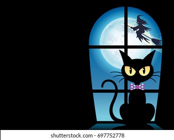 A Happy Halloween vector illustration with a black cat by the window.