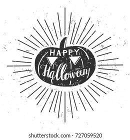 Happy Halloween. Vector illustration with black silhouette of pumpkin, hand lettering, scroll and sunburst on white background with grunge texture. Typography poster, card, banner design.