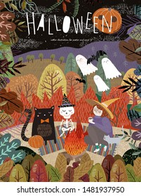 Happy Halloween! Vector illustration of cute characters: witches, ghosts, bats, scary pumpkin, skeleton and cat pet on a picnic near the fire. Drawing for background, poster or card.