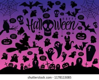 Happy Halloween Vector Illustration set